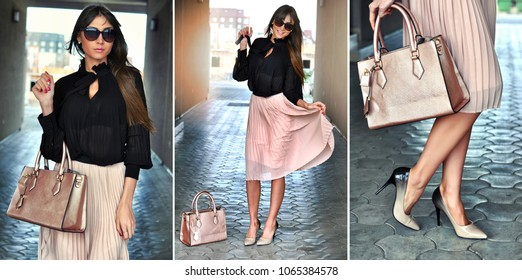 Collage photos of confident, happy elegant brunette woman with sunglasses wearing a beige pleated skirt ,black blouse, high beige-black heels, leather bag. Elegant outfit for every occasion