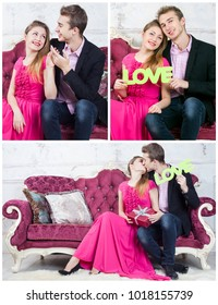 Collage of photos couple on sofa celebrating Valentine's day. Relationship or love concept.