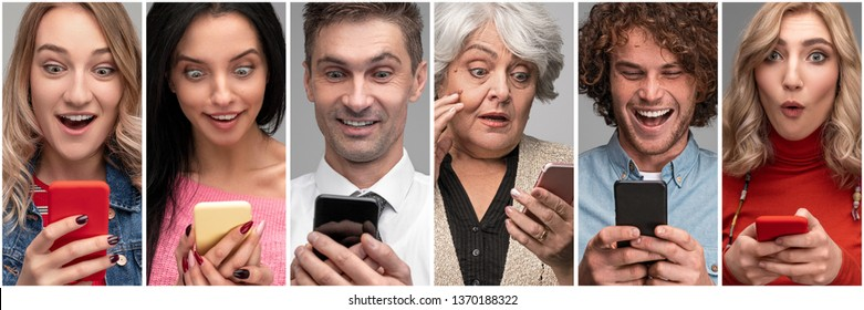 Collage of photos of diverse shocked people of all ages reading surprising news while using smartphone