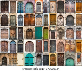 collage photos of doors on the old districts of Europe