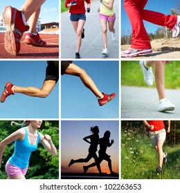 collage of photos of the feet of runners on sports and fitness
