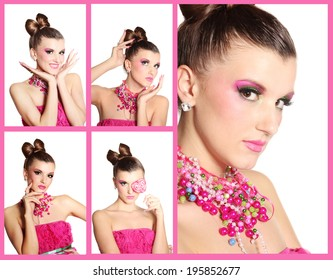 Collage of photos with glamour girl