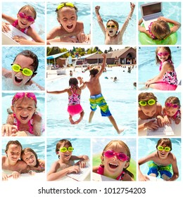 Collage of photos happy children in public outdoor swimming pool at summer time.