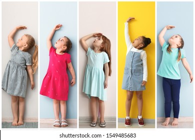 Collage of photos with little girls measuring height near walls