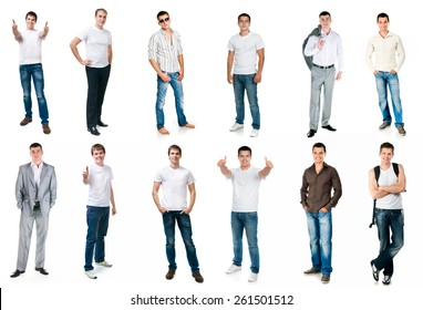 collage photos of men in full-length  isolated on white background