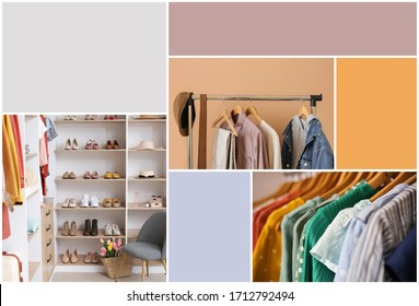 Collage of photos with modern wardrobe. Different color patterns