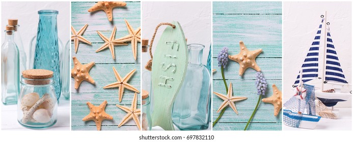 Collage from photos with ocean, sea  or coastal living decorations. Summer family vacation.  Decorative wooden boats,  star fishes, bottles with ocean treasures on light background. Site header.