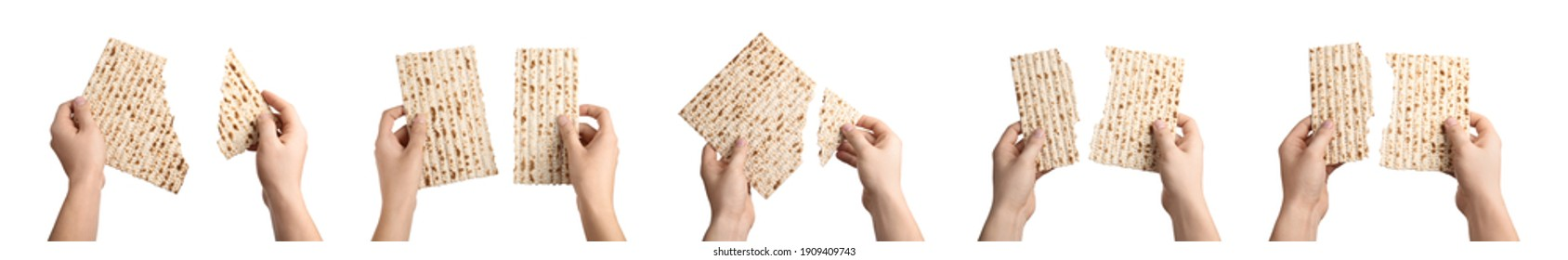 Collage with photos of people holding matzos on white background, closeup. Pesach (Passover) celebration