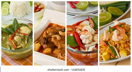 Collage photos of popular Thai food (Green curry, Massaman curry, Tom yum kung, Pad Thai)