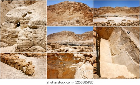 Collage of photos from qumran caves, Israel.