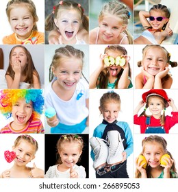 collage of photos of smiling little girl in a good mood