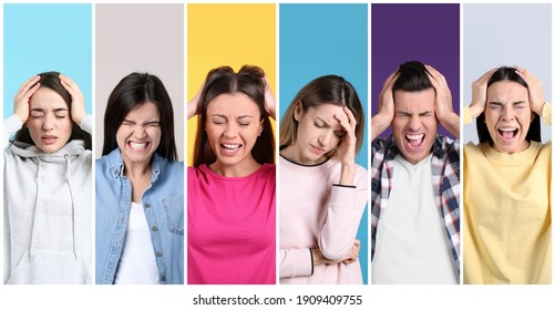 Collage with photos of stressed people on color backgrounds