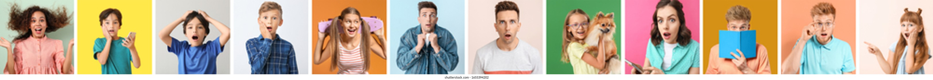 Collage of photos with surprised people