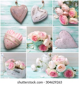 Collage from photos with  with sweet pink roses in vase, decorative hearts and candles  on turquoise painted wooden planks. Shabby chic.