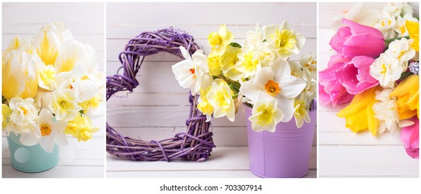 Collage from photos with  yellow  daffodils and tulips  flowers, decorative heart on  wooden planks. Spring, Easter time. Floral background. Spring site header.