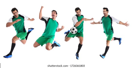 Collage with photos of young man playing football on white background. Banner design