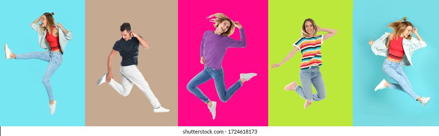 Collage with photos of young people in fashion clothes jumping on different color backgrounds. Banner design