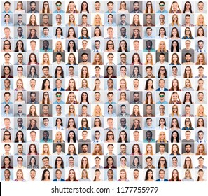 Collage picture of different cheerful adult people expressing happiness. beautiful white human smiles