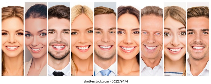 Collage picture of different cheerful adult people expressing happiness. beautiful white human beaming smiles.