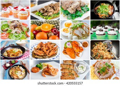collage picture of food menu asian, american and chinese food