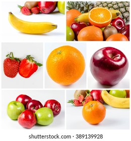 collage picture of Fresh many fruits, orange, apple, pineapple banana and  on white background