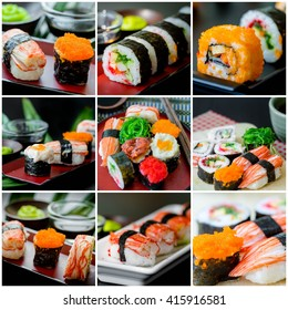 Collage picture of sushi set in Japanese dish with shoyu Sauce and wasabi