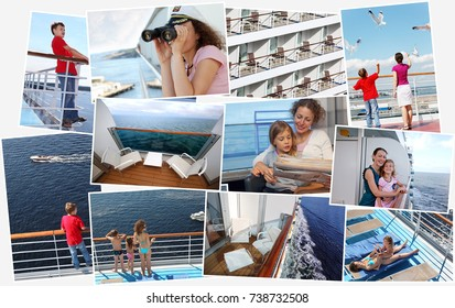 collage of pictures of cruise liner with woman, girl and boy on ship