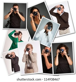 Collage with pictures of different photographers