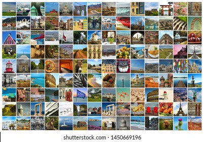 Collage of a pictures of food, objects, landmark, landscape and touristic place in the world