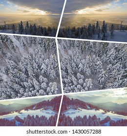 Collage of pictures on the theme of winter. Landscape from above. Travel background.
