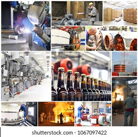 collage with pictures from the working world - industry and crafts - workers at work