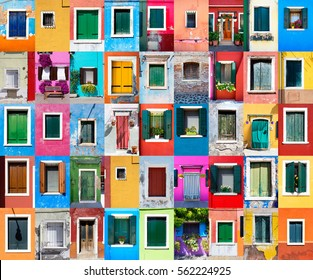 Collage of picturesque windows with shutters on the famous island Burano, Venice, Italy