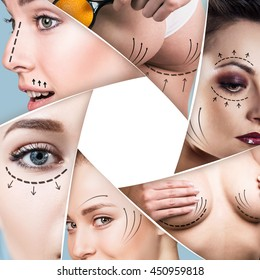 Collage of plastic surgery concept