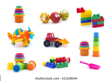 Collage of plastic toys for baby isolated on white background.