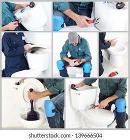 Collage. Plumber with a toilet plunger. The worker