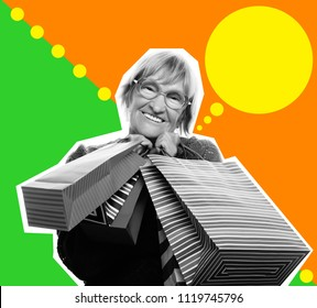 Collage in pop art style - Happy senior woman with shopping bags  over bright background, lifestyle concept