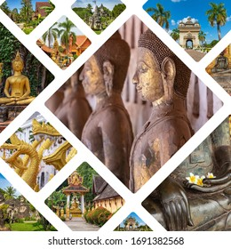 Collage of popular tourist destinations in Laos. Travel background. Southeast Asia.