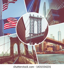Collage of popular tourist destinations in New York. USA. Travel background.