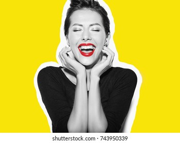 Collage portrait of beautiful happy cute sexy brunette woman in casual black dress with red lips on white background