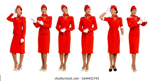 Collage, portrait of a young beautiful Russian stewardess in red uniform - isolated on white background
