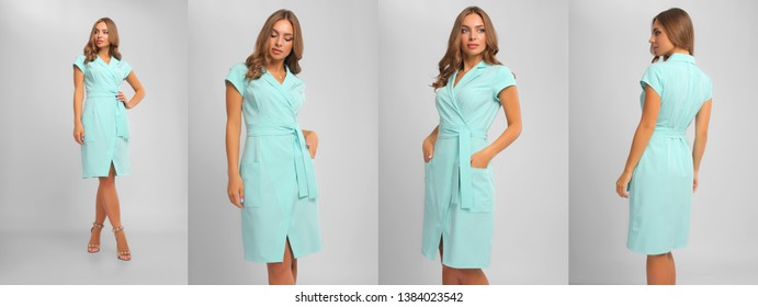 b95306a4403 collage of portrait of young woman wearing kneelength mint dress with the  wrap
