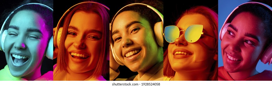 Collage of portraits of 2 young emotional girls on multicolored background in neon. Concept of human emotions, facial expression, sales. Smiling, listen to music with headphones. Flyer for ad, offer