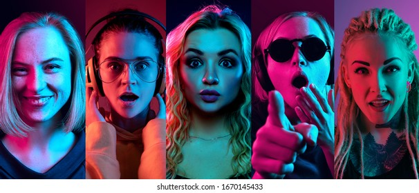 Collage of portraits of 4 young emotional people on multicolored background in neon. Concept of human emotions, facial expression, sales. Smiling, listen to music with headphones. Flyer for ad