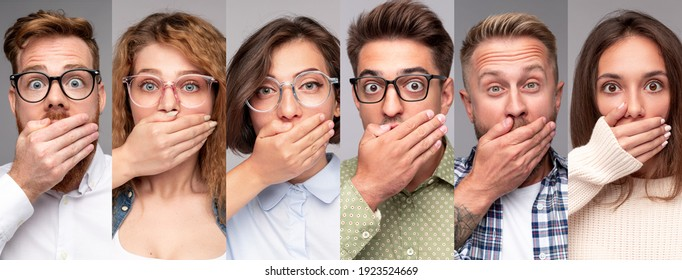 Collage of portraits of astonished speechless young people in casual clothes covering mouth and looking at camera while representing censorship concept