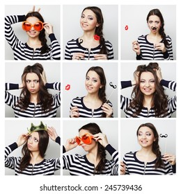 Collage of portraits of a beautiful young woman. Ready for party.