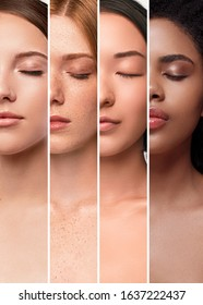 Collage of portraits of crop multiracial ladies with various skin colors and closed eyes