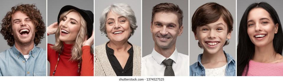 Collage de portraits de différentes personnes de toutes les générations, rire joyeusement sur fond gris