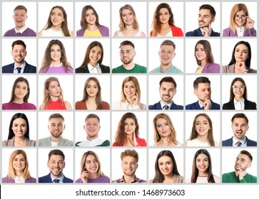 Collage with portraits of emotional people on white background