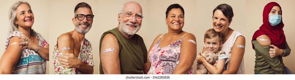Collage of portraits of an ethnically diverse and mixed age group of people showing their shoulders with band-aids on after getting a vaccine.