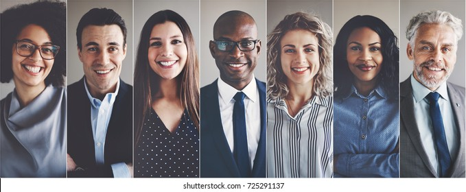 Photo of Collage of portraits of an ethnically diverse and mixed age group of focused business professionals